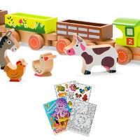 Janod 08536 Story Barnyard Baby Pull Along Train with Coloring Book