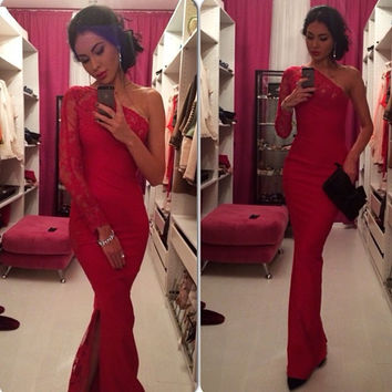 Red One Shoulder Long Sleeve Floral Lace Bodycon Fishtail Maxi Dress
