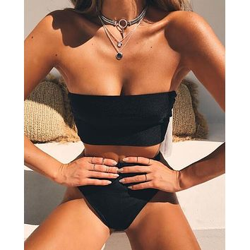 Summer Beach Popular Women Pure Black Strapless High Waist Two Piece Bikini Swimsuit Bathing(3-Color) I12444-1