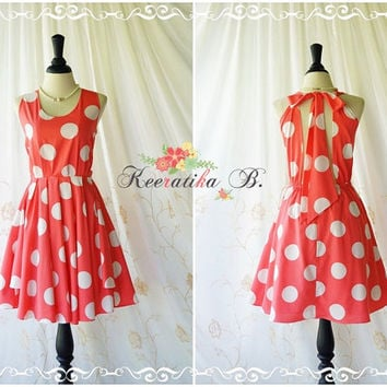 A Party Kate Cocktail Dress Cut Off Back Halter Dress Coral Dress White Polka Dot Backless Prom Party Dress Wedding Bridesmaid Dress XS-XL