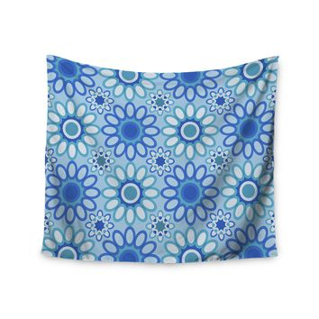 """Julia Grifol """"Blue Flowers Tile"""" Blue Green Vector Wall Tapestry"""