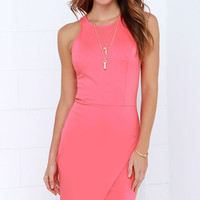 Rocksteady and Ready Coral Pink Bodycon Dress