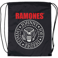 Ramones Red Logo Seal Drawstring Backpack Black