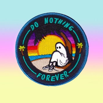 Do Nothing Forever Embroidered Patch, Iron On Patch, Sew On Patch, Patches for Jackets