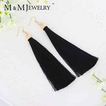 5 Colors Fiber Tassel Long Drop Earrings for Bridal Women Gold Plated Brush Bohemia Fashion Wedding Party Jewelry EH422