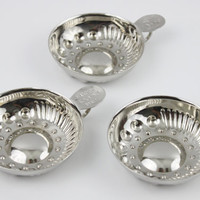 Vintage set of Three Silver Plated Wine Tasting Cups / Sommelier Cups / Wine Sommelier