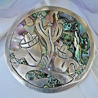 Vintage Mexico Silver TAXCO 925 Abalone Brooch Pendant 13g BERNICE GOODSPEED