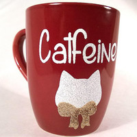 Catfeine coffee mug cat mug glitter mug pet mug animal cup red coffee cup funny mug ceramic burgundy mug red coffee mug ceramic red cup