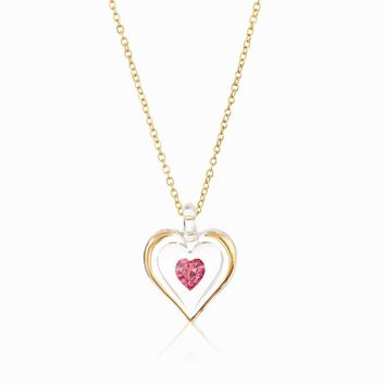 October Gold Trim Swarovski Birthstone Heart 18 inch Necklace