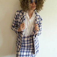 Vintage 1970s Blue and White Plaid 2 Piece High Waist Skirt Suit