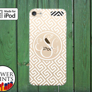 Greek Pattern Line Art Cursive Monogram Cute Custom Clear Case For iPod Touch 5th Generation and iPod Touch 6th Generation iPod 5 iPod 6
