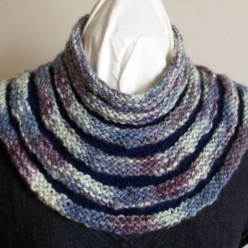 Knit Cowl,  Infinity Scarf, Handspun Knit Neck Warmer Buff, BFL/Merino Wool Handspun Variegated Knitted Green Purple Blue Navy New Design