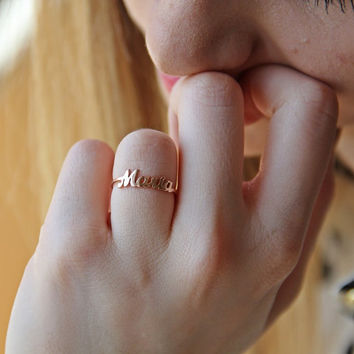 Personalized Silver Name Ring /  Customized name ring / Fashion personalize name ring / Minimal Name Ring