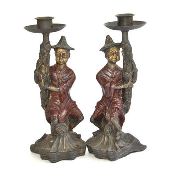 PAIR, Bronze Candle Holders, Chinoiserie Chic
