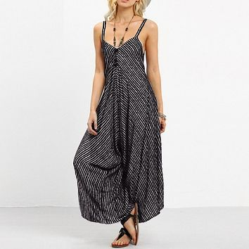 2019 Feitong Rompers Womens Jumpsuit Sexy Strapless Casual Loose Striped Playsuits Backless Summer Overalls Jumpsuit Women