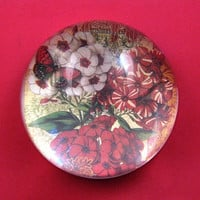 Red and White Floral Butterfly Round Crystal Dome Paperweight