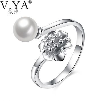 V.YA Adjustable Pearl Flower Rings Real Pure 925 Sterling Silver Fashion