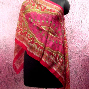CIJ Sale/free shipping/Brown Scarf/Pink Silk/Square/Bandana/Hip/Head Wrap/Gray Beach/Long/Paisley/40 x 40 inches/20 x 70 inches/rectangle