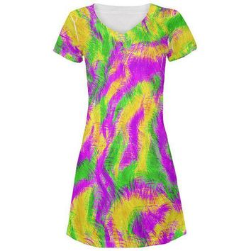 CREYON Mardi Gras Bourbon Street Monster Costume All Over Juniors Beach Cover-Up Dress