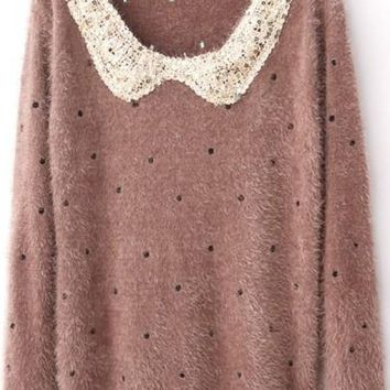 New Women Khaki Polka Dot Sequin Peter Pan Collar Pullover Sweater