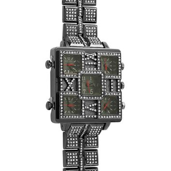 5 Time Zone Square Face Black Watch