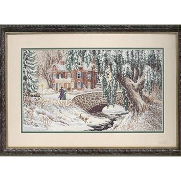 Top Quality Beautiful Counted Cross Stitch Kit Stroll in Winter Lace Snow Walk Walking House Home Bridge Tree dim 35111