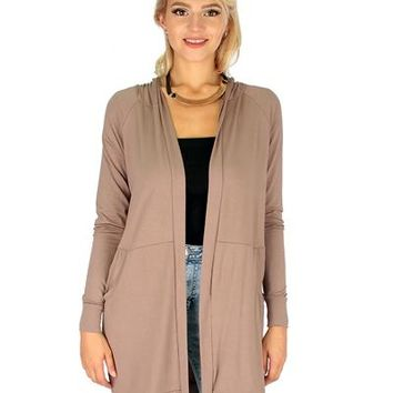 TAUPE- LONG-LINE HOODED CARDIGAN WITH POCKETS RC1124