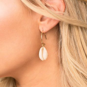 Beach Bound Cowry Shell Hoop Earrings