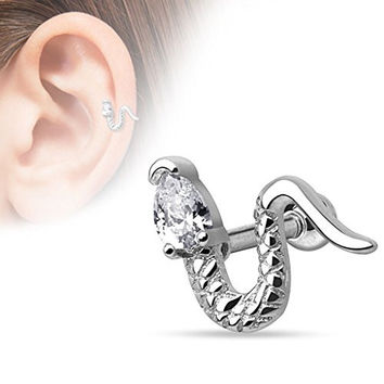 Snake CZ Head Tragus Barbell 316L Surgical Steel Cartilage Bar Helix Piercing 16g (Silver Tone)
