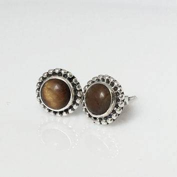Sterling silver Tiger stud earrings, tiger eye earrings, tiger eye jewelry, gemstone earrings, boho stud earrings, boho chic jewelry, gift