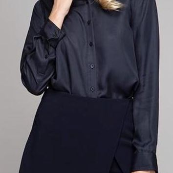 Aubrey Cupro Tencel Button Down in Navy