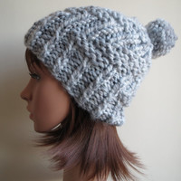 Hand-knit, Chunky, Zig Zag Ribbed, Slouchy Beanie Hat with Pompom in 'Off White with Grey Marl'
