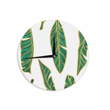 "83 Oranges ""Banana Leaf Gold"" Gold Green Digital Wall Clock"