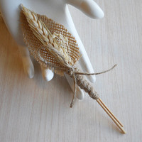 Wheat & Burlap Boutonniere, Groom and Groomsmen Boutonniere, for Rustic, Country, Bohemian, Woodland Style Weddings. Made to Order.