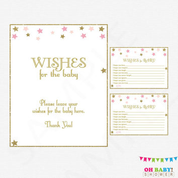 Baby Shower Wishes for Baby. Twinkle Twinkle Little Star. Pink and Gold Baby Shower. Girl Baby Shower. DIY Printable. Instant Download. STPG
