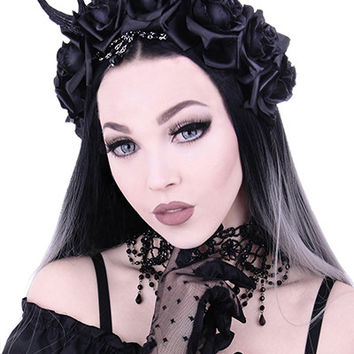 Gothic Romance Dark Forest Antlers and Black Roses headband, Gothic Wreath, romantic headwear