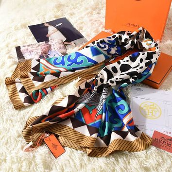 """Hermès"" Women Scarves Temperament Fashion Retro Multicolor Totem Silk Scarf Shawl"