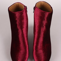 Qupid Crushed Velvet Blocky Heeled Ankle Boots