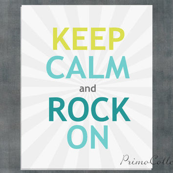 Keep Calm and Rock On / Tween bedroom decor / Wall Art Prints / guitars / 8x10 inch / boy's room decor /rockstar artwork
