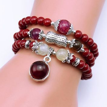 Natural Fashion 6mm red Stone Beads Tibetan Buddhist Prayer Beads Necklace Gourd mala Prayer Bracelet for Meditation