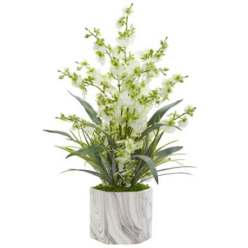 Artificial Flowers -Dancing Lady Orchid Green Arrangement-Marble Finished Vase