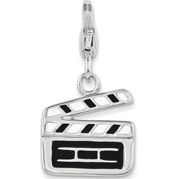 925 Sterling Silver Black Enameled Movie Set Clapper Dangle Charm