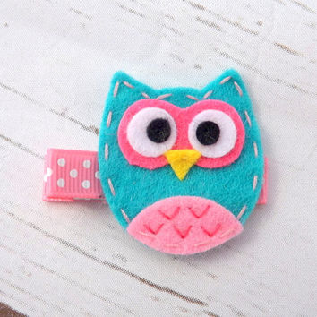 Owl hair clip, bird felt girls hair accessory, bird hair clip, girls hair clip, animal hair clip, toddler clip, girl clip, uk seller