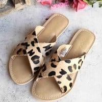 coconuts by matisse - pebble animal print flip  flop sandal - leopard/cow hair