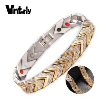 Vinterly Energy Magnetic Bracelet Bangles for Women Men Chain Link Stainless Steel Bracelet Femme Health Germanium Jewellery