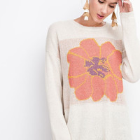 Bold Flower Oversized Sweater