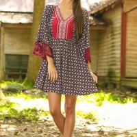 Follow The Print Dress-Burgundy