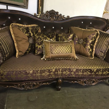 """Italian Crystal Tufted Sofa with  Carved Frame  - 81"""""""
