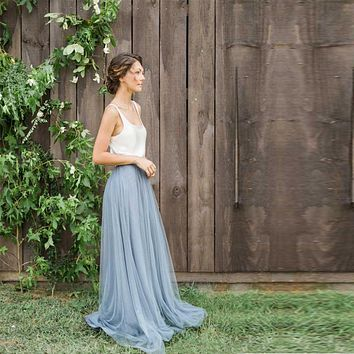 Honey Qiao 2017 Hot Cheap Boho Grey Blue Bridesmaid Gowns With Camisole Tulle Maxi Skirts Floor Length Blush Prom Party Skirts