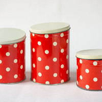 Polka dot tin canisters, red tins, set of 3 red white boxes, kitchen decor fun, housewares tins, cans dotted